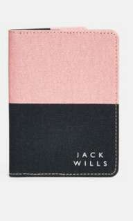Brand new authentic Jack Wills Whitby passport travel cover pink blue peach
