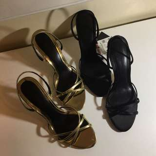 ZARA black and gold heels