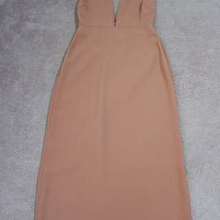 NA-KD Tan backless dress