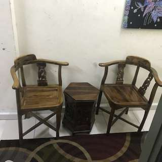 Jati of Coffee table, chair and banch