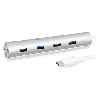 1byone USB C to 7-Port USB 3.0 Aluminum Hub with BC 1.2 Charging Port, Built-in 1.3 Feet Cable & 5V 3A Power Adapter