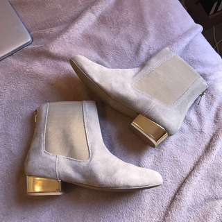 Genuine Suede Leather Gold Heel Boots
