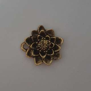 Gold Flower Pewter Charm