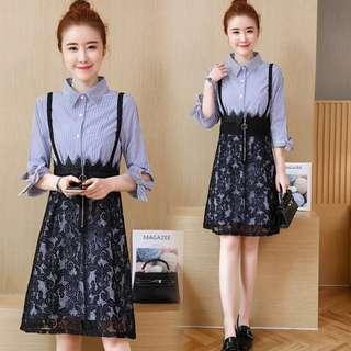 (L-5XL)plus size spring new princess shirt dress lace strap skirt two sets