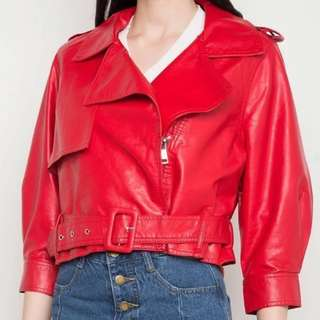 [FREE SF] ZALORA Faux Leather Jacket with Buckle