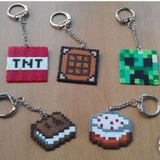 Minecraft Hama Designs With Keychain
