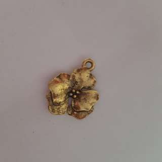 Gold Pansy Flower Pewter Charm