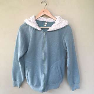 Mint Jacket with Fluffy Hoodie