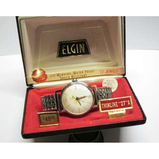 "ELGIN ""Thin-Thin"" 27 A Automatic Wrist Watch in Original Box & Tags & Stickers"