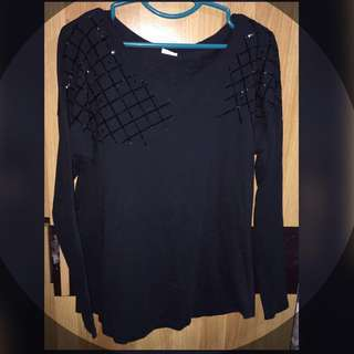 Long Sleeve Black Top - Esprit