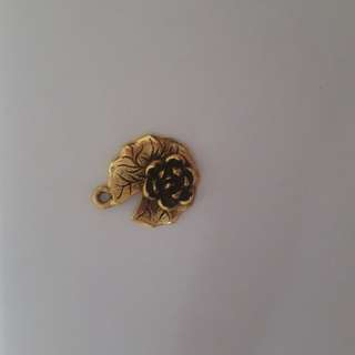 Gold Water Lily Flower Pewter Charm