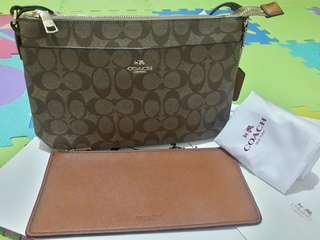 Coach Signature Sling Bag with Cheque Book Holder FREE SF