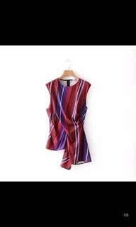 Europe and the United States new loose thin sleeveless fold waist striped shirt