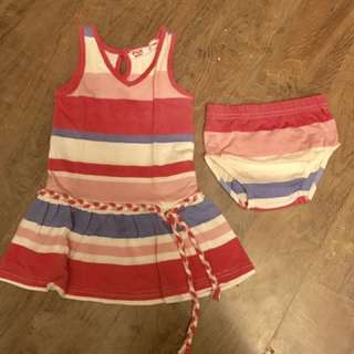 F&X Baby Striped Pink dress for 12-18 months