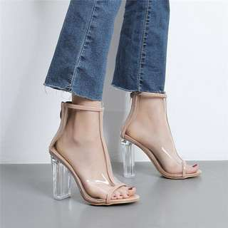 Fashion Mesh Rubber Clear Ankle Boots High Heels