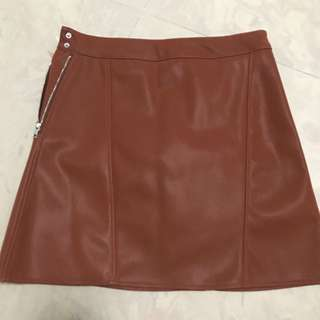 BN Brown-Red leather skirt