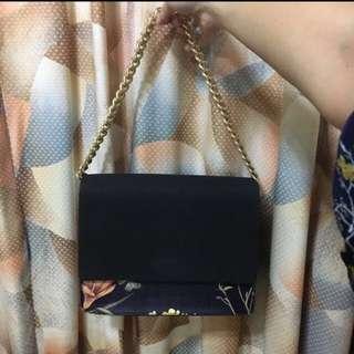 Zalora Floral Print Double Compartment Shoulder Flap Bag