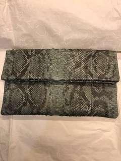 Real Python Clutch - greyish green
