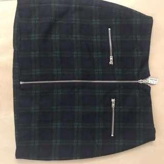 Madewell green check skirt