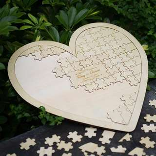 Custom wedding heart puzzle guestbook
