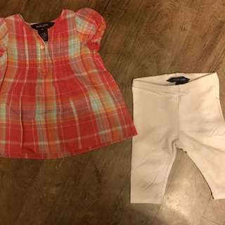Ralph Lauren Pink Plaid Top with White Leggings Set