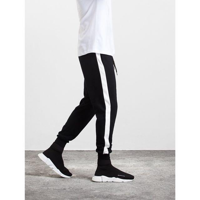 單線縮口褲黑白配色