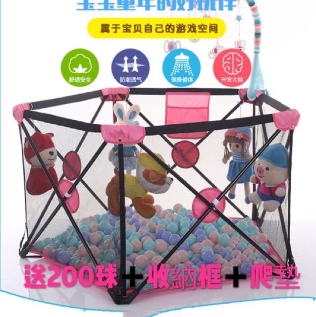 🎀免運費🎀嬰幼兒圍欄可收折旅行爬行學步爬行護欄便攜式寶寶遊戲安全圍欄室外内