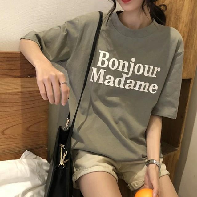 簡約法式字母休閒短袖上衣