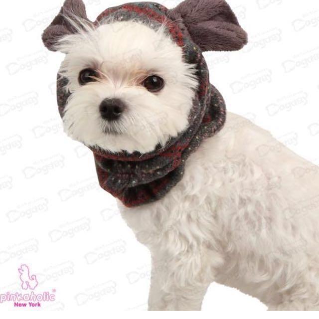 紐約設計寵物頭飾圍巾兩用,也可讓寶貝吃飯時不會用髒耳朵的長毛喔