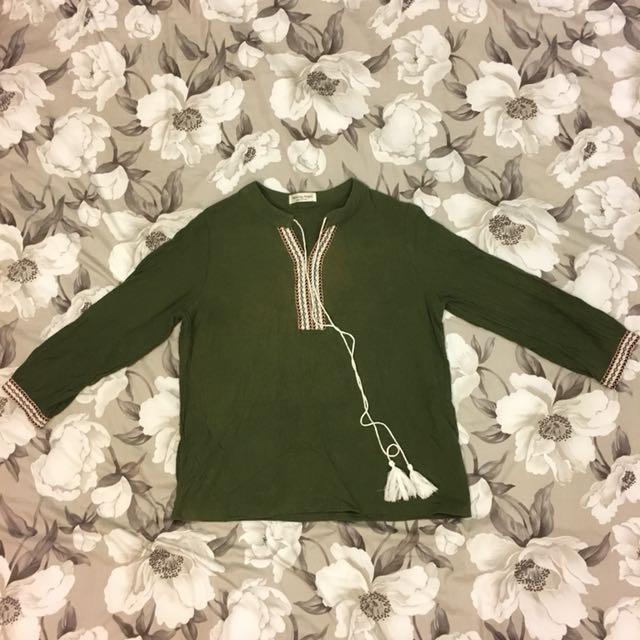 棉麻 民族風 女 上衣 軍綠色
