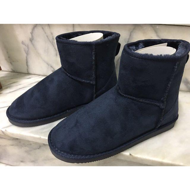 日本購入帶回 日本品牌專櫃 基本款 素面 深藍色 短筒 雪靴 M號