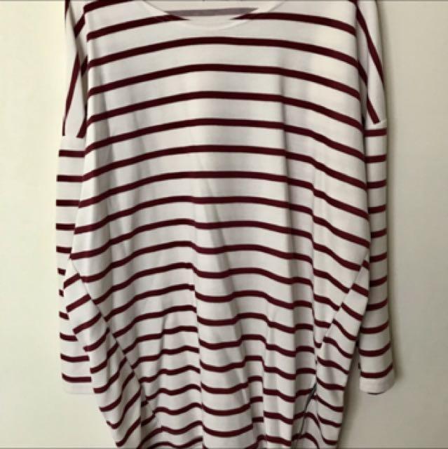 長板紅白線條 側拉鍊長袖上衣 大學t