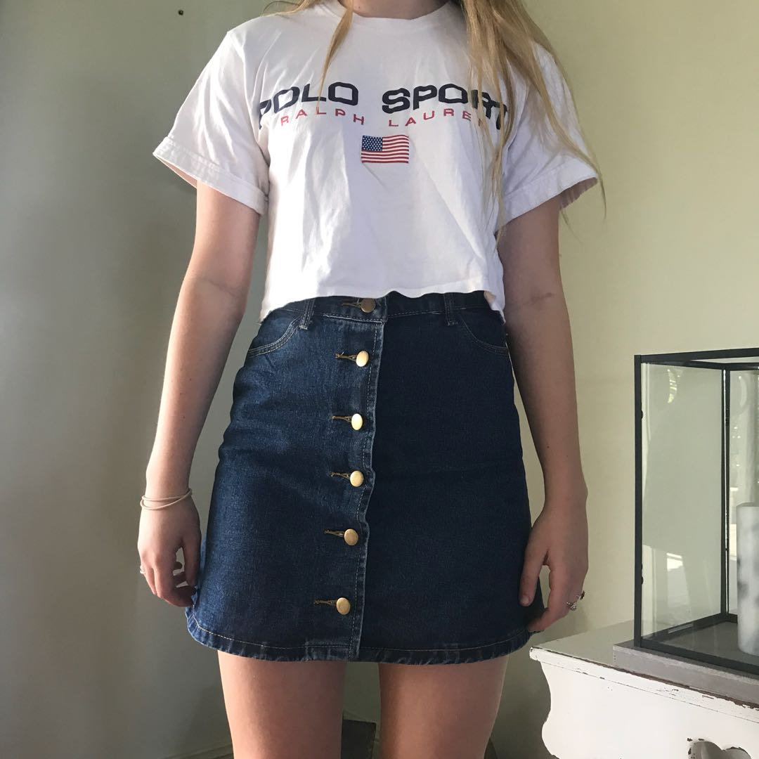 A-Line Denim Button Skirt