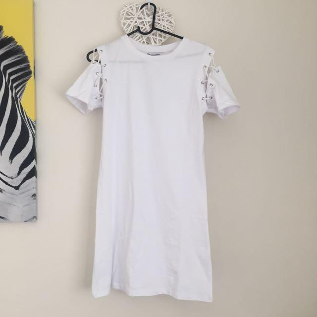 Asos white Tshirt Dress w lace up shoulder detail
