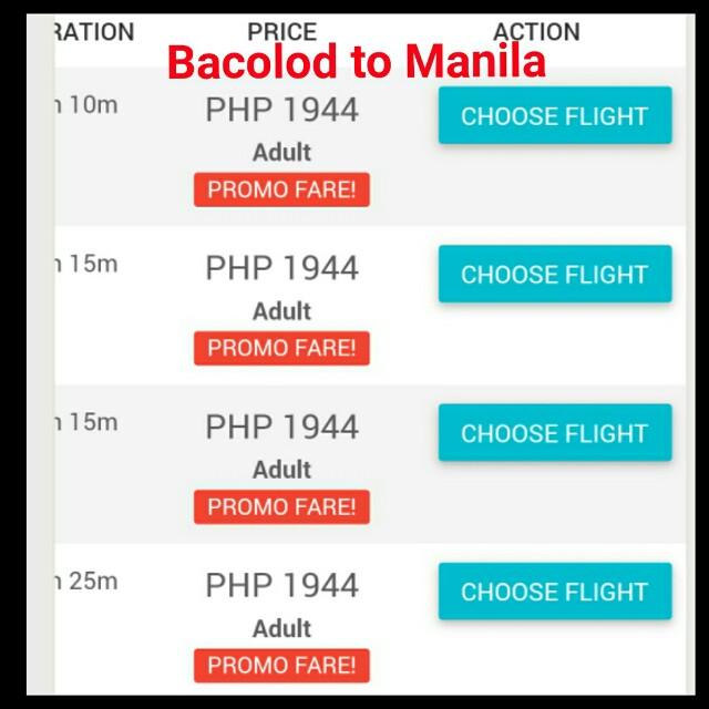 Bacolod to Manila