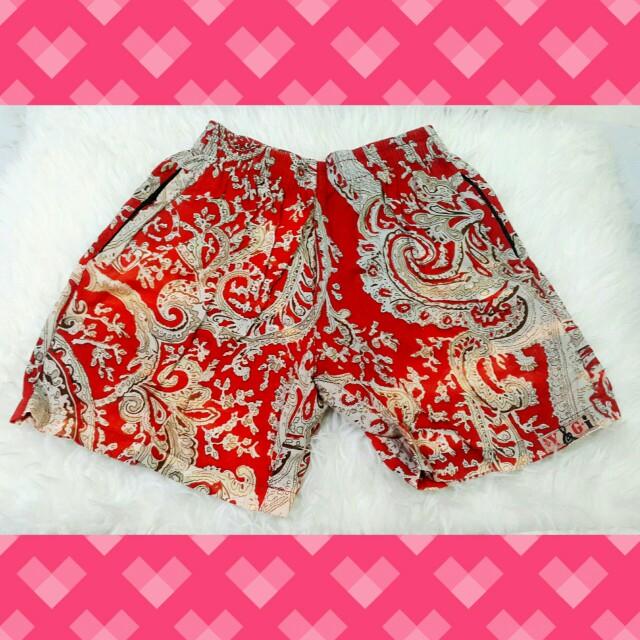 #barteryuk Red Batik Shorts