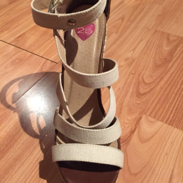 Bebe beige wedge ankle strap sandals