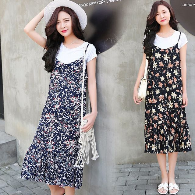 47d9070f857 BN Korean Style Black Floral Maxi Dress, Women's Fashion, Clothes, Dresses  & Skirts on Carousell