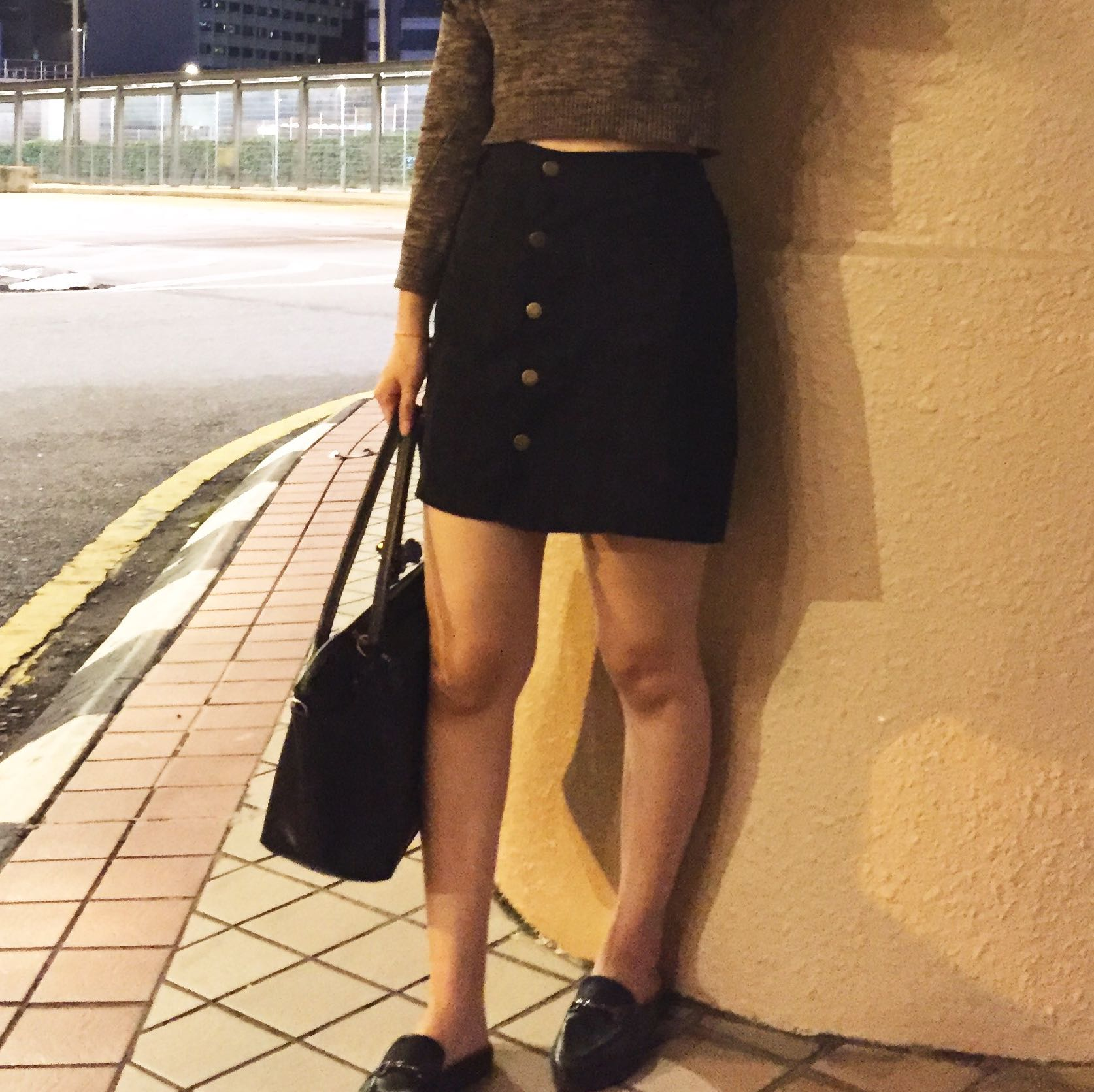 BUTTON SKIRT BLACK BANGKOK