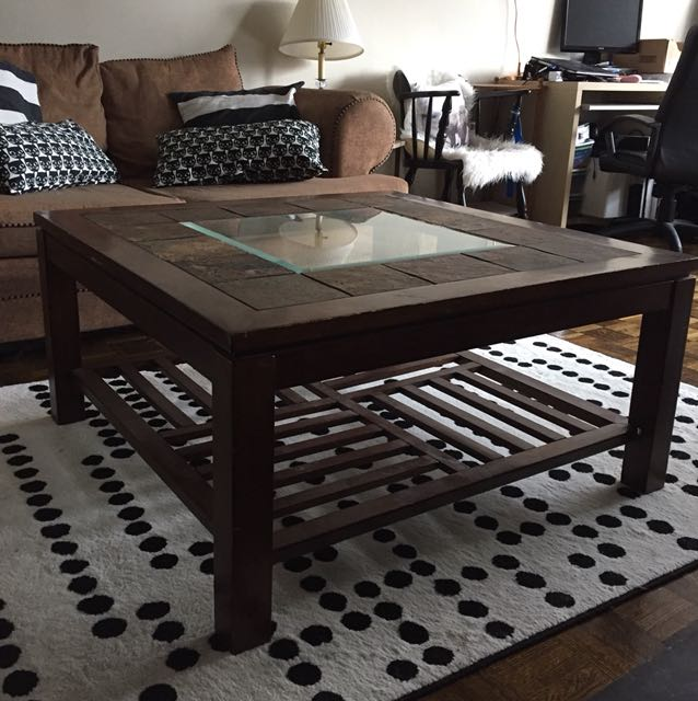Coffee table - with storage, stone and dark wood