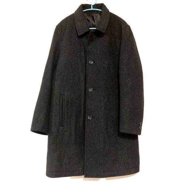 COMME CA ISM 日本設計品牌 秋冬長袖大衣 西裝大衣 西裝男外套 鐵灰 修身 12月