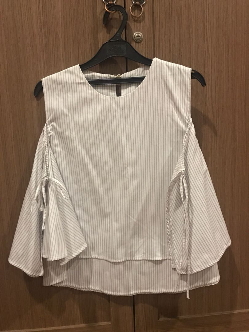 COTTONINK Open Shoulder Stripe Blouse All Size