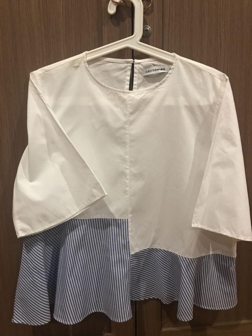 COTTONINK White and Stripe Blouse Sz.M