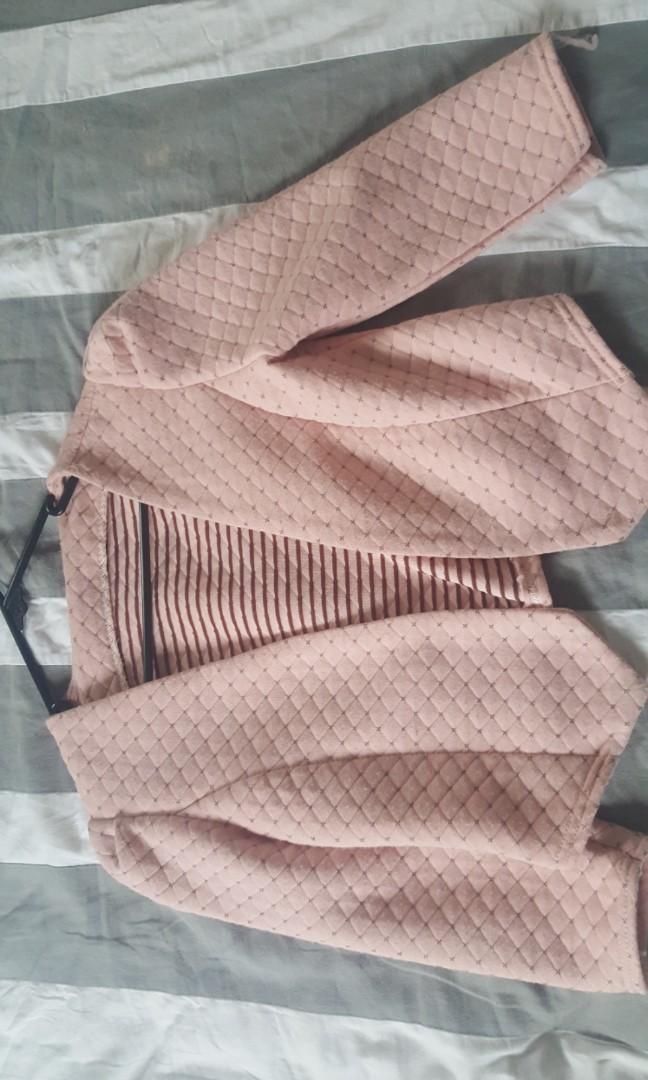 Cropped pink blazer
