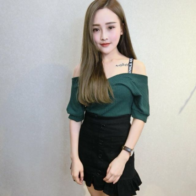 d0c32adb8a5 Dark green off shoulder top, Women's Fashion, Clothes, Tops on Carousell