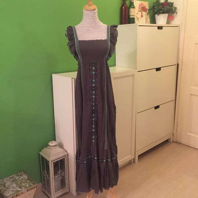 Dark Grey Maxi with Embroderie