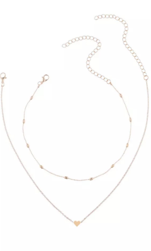 Double necklace dainty chain and heart pendant