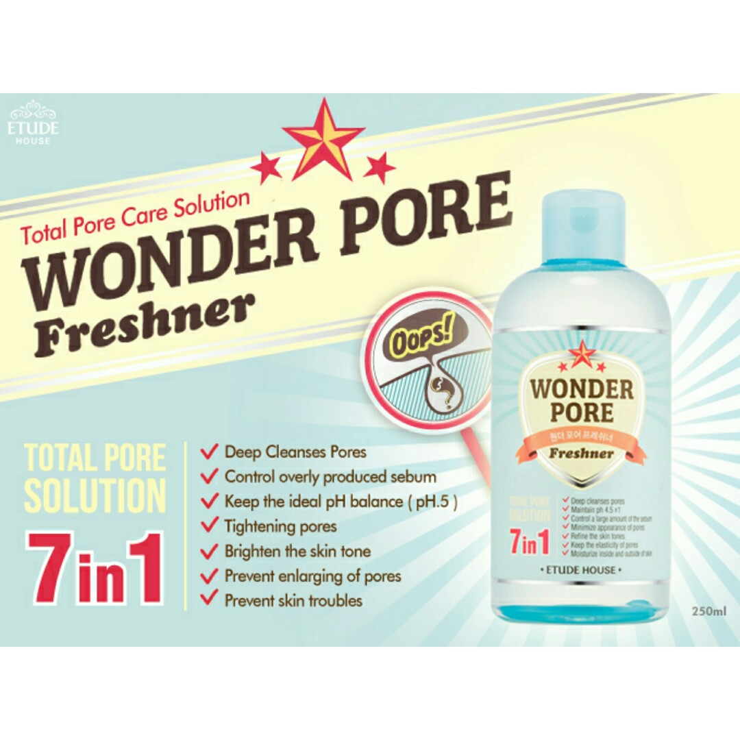 Etude House Wonder Pore Freshner Face Toner Wajah 500ml Harga 500 Ml 250ml Daftar Source