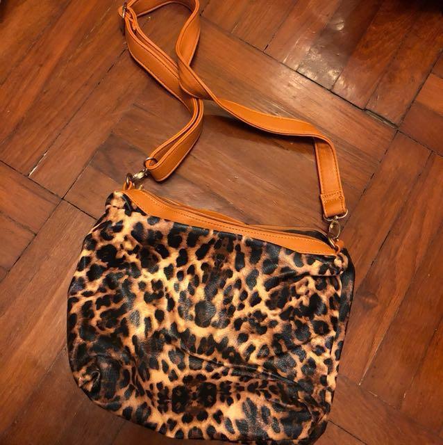 1073d9ad Faux leather tiger skin paint shoulder bag, Women's Fashion, Women's ...