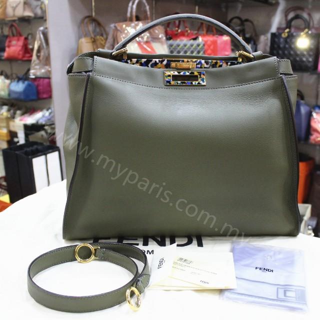 66f8263a7bcd Fendi Olive Green And Graphite Peekaboo Bag Large